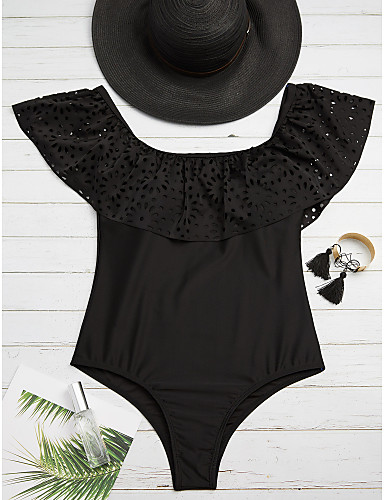 חוטיני אחיד, קפלים - חלק אחד (שלם) סירה מתחת לכתפיים בגדי ריקוד נשים