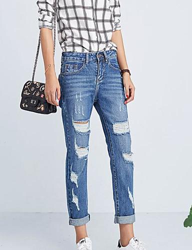 מכנסיים ג'ינסים פוליאסטר מיקרו-אלסטי גיזרה בינונית (אמצע) אחיד פשוט קיץ בגדי ריקוד נשים