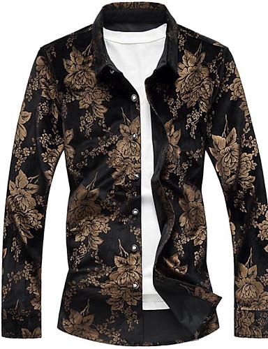 voordelige Herenoverhemden-Heren Luxe Print Overhemd Katoen, Feest / Club Bloemen Zwart / Lange mouw