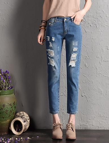 בגדי ריקוד נשים וינטאג' כותנה ג'ינסים מכנסיים - גיזרה גבוהה אחיד / קיץ / סתיו