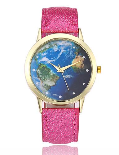 בגדי ריקוד נשים שעון יד Chinese שעונים יום יומיים עור להקה אופנתי / תבנית מפת העולם שחור / לבן / כחול