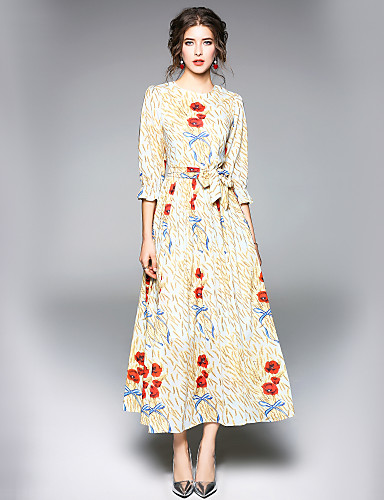 מקסי פרחוני - שמלה גזרת A סגנון רחוב עבודה בגדי ריקוד נשים