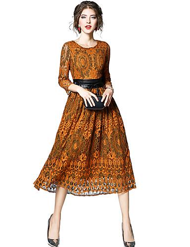 מידי תחרה, קולור בלוק - שמלה נדן / תחרה מתוחכם בגדי ריקוד נשים
