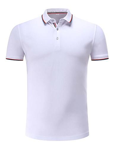 Homens Polo Sólido Listrado Colarinho de Camisa