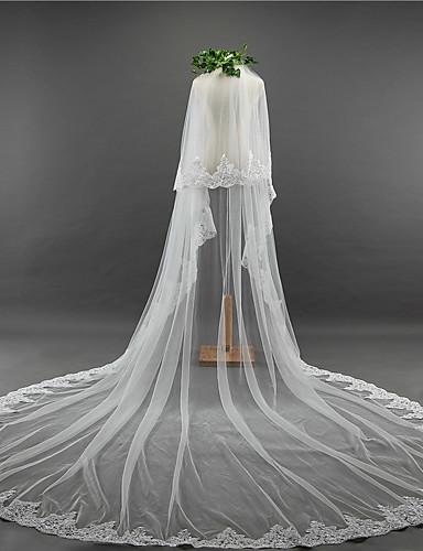 שתי שכבות וינטאג' הינומות חתונה צעיפי קתדרלה עם ריקמה טול