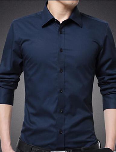 אחיד פשוט כותנה, חולצה - בגדי ריקוד גברים / שרוול ארוך
