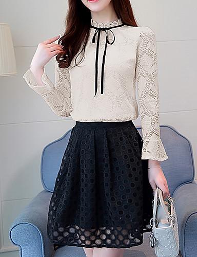 abordables Camisas y Camisetas para Mujer-Mujer Boho / Chic de Calle Noche Algodón Camisa Un Color Blanco L / Primavera / Verano