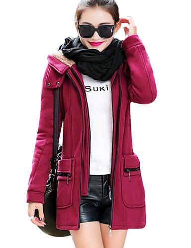 Damen-Solide Grundlegend Übergrössen Mantel Pelzkragen