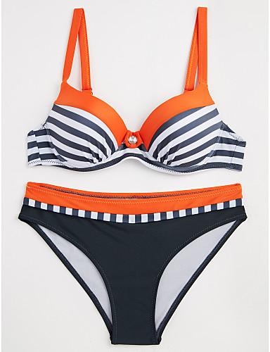 abordables Hauts pour Femmes-Femme A Bretelles Orange Rose Claire Jaune Slip Brésilien Bikinis Maillots de Bain - Rayé Bloc de Couleur Imprimé L XL XXL Orange / Sexy