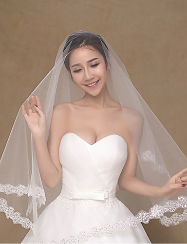 שכבה אחת מסוגנן הינומות חתונה צעיפי מרפק עם פולי
