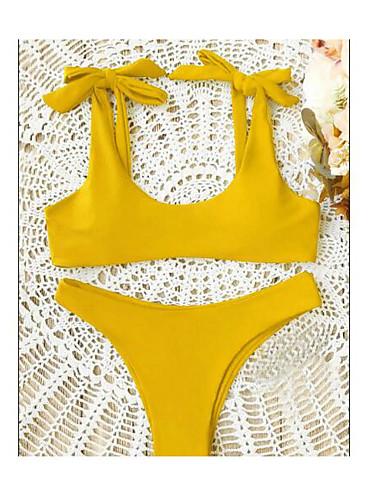 Χαμηλού Κόστους Γυναικείες Μπλούζες-Γυναικεία Δένει στο Λαιμό Ρουμπίνι Κίτρινο Μπικίνι Μαγιό - Συμπαγές Χρώμα Εξώπλατο Τ M L Ρουμπίνι