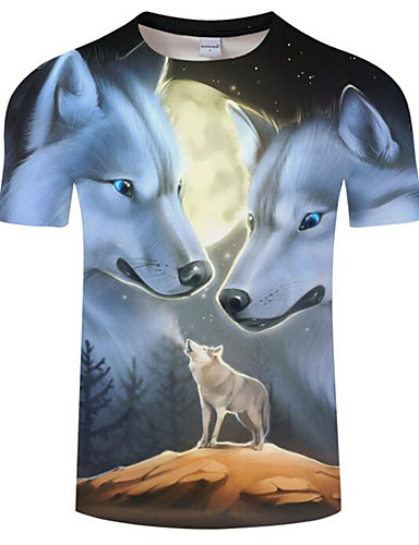 3f5cc07be Men's Plus Size T-shirt - Color Block Wolf, Print Round Neck Black XXXXL /  Short Sleeve / Summer