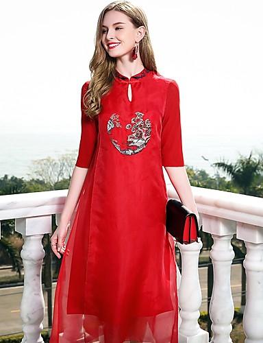 עומד בסיסי, צבע אחיד - שמלה משוחרר סגנון סיני בגדי ריקוד נשים