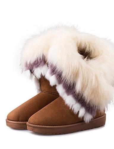 billige Shoes & Bags Must-have-Dame Støvler Flat hæl Pels / Fleece Støvletter Trendy støvler Vinter Brun / Grønn / Rosa / EU39