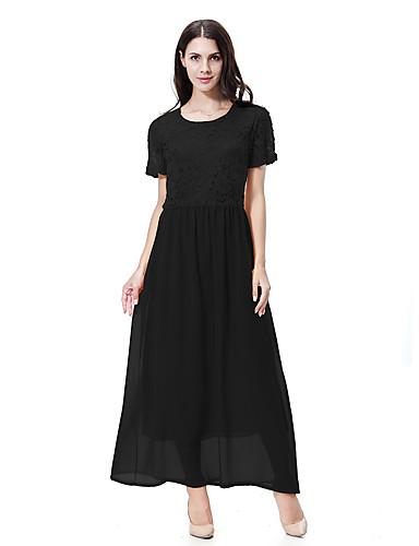 מקסי תחרה בסיסי, צבע אחיד - שמלה משוחרר בוהו בגדי ריקוד נשים