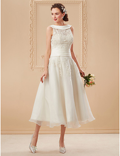play video. cheap Wedding Dresses-A-Line Bateau Neck Tea Length Organza    Floral Lace Made f1fda1bbb
