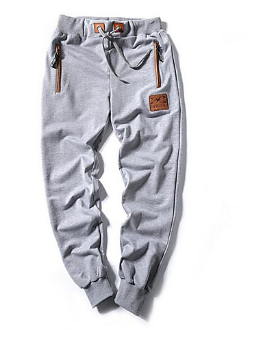 cheap 2/21-Men's Cotton / Linen Harem / Sweatpants Pants - Solid Colored Black / Spring