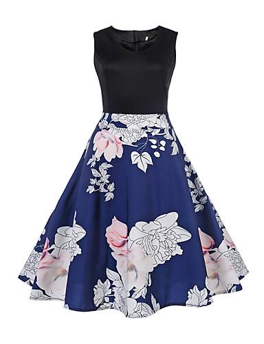 צווארון V מעל הברך דפוס, פרחוני - שמלה גזרת A פעיל / סגנון רחוב ליציאה בגדי ריקוד נשים / אביב / קיץ