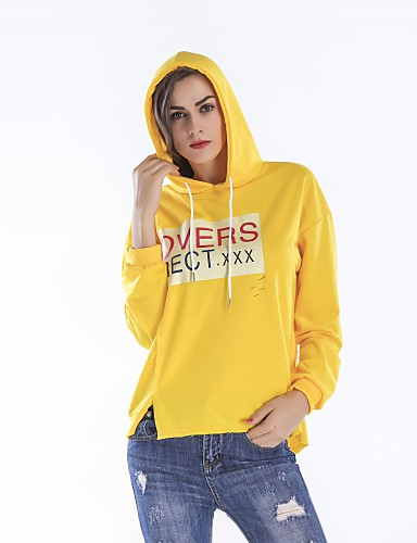 בגדי ריקוד נשים כותנה מכנסיים - אותיות דפוס צהוב / אביב / ליציאה