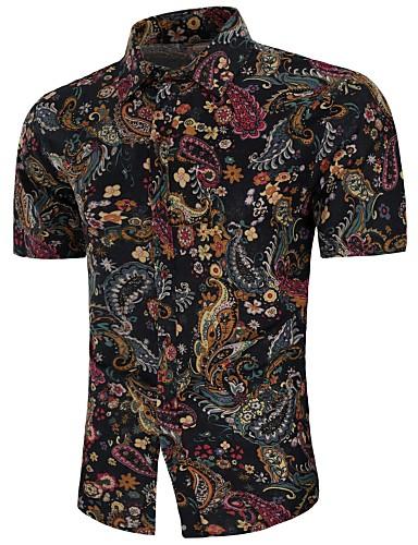 abordables Camisas de Hombre-Hombre Vintage / Boho Tallas Grandes Estampado - Lino Camisa Geométrico Negro XXL / Manga Corta / Verano