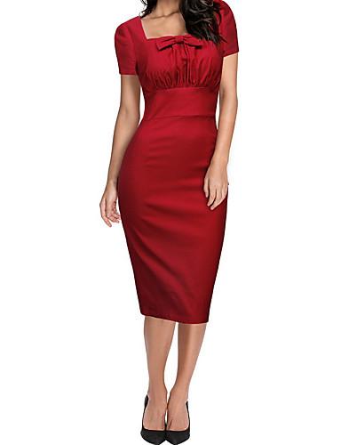 אדום צווארון מרובע מותניים גבוהים מידי פפיון, אחיד - שמלה נדן רזה בגדי ריקוד נשים