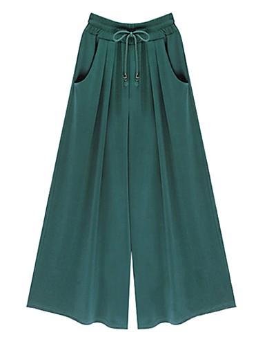 billige Tights til damer-Dame Store størrelser Daglig Løstsittende Bred Bukseben Bukser - Ensfarget Grunnleggende Bomull Svart Gul Grønn M L XL