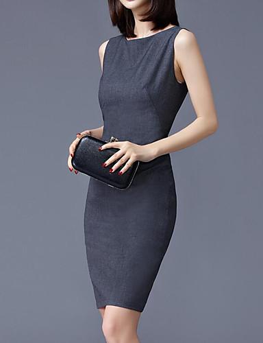 Damskie Impreza / Praca Moda miejska / Wyrafinowany styl Szczupła Bodycon Sukienka - Solidne kolory, Patchwork Nad kolano / Seksowny