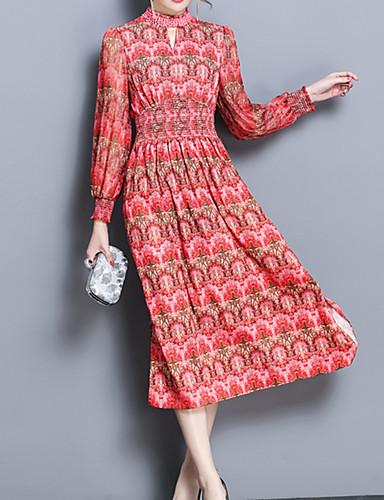 עומד מידי מפוצל / דפוס, פרחוני - שמלה נדן / שיפון רזה מידות גדולות מתוחכם / בוהו חגים בגדי ריקוד נשים