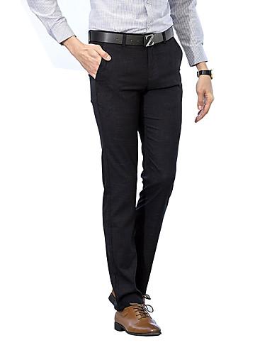 Męskie Moda miejska Rozmiar plus Bawełna Szczupła Garnitur Typu Chino Spodnie Jendolity kolor Prążki Niski stan
