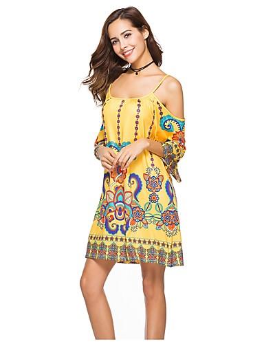 e4bff116e0f0 Γυναικεία Παραλία Μπόχο Μανίκι Νυχτερίδα Φαρδιά Φαρδιά Φόρεμα - Φλοράλ