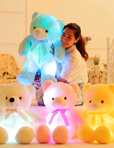 voordelige Uitverkoop-Romantiek Creatief Knuffelbeer Knuffels & Pluche dieren Schattig LED Siliconen Meisjes Speeltjes Geschenk