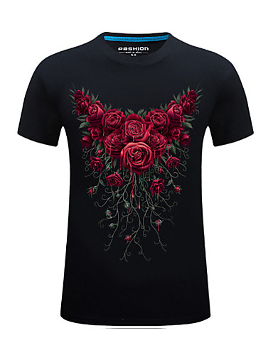 Puszysta T-shirt Męskie Podstawowy / Moda miejska, Nadruk Bawełna Sport Okrągły dekolt Geometric Shape / Zwierzę / Krótki rękaw