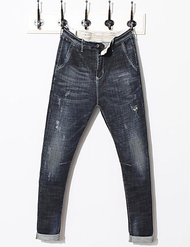 בגדי ריקוד גברים כותנה פשתן ג'ינסים מכנסיים אחיד