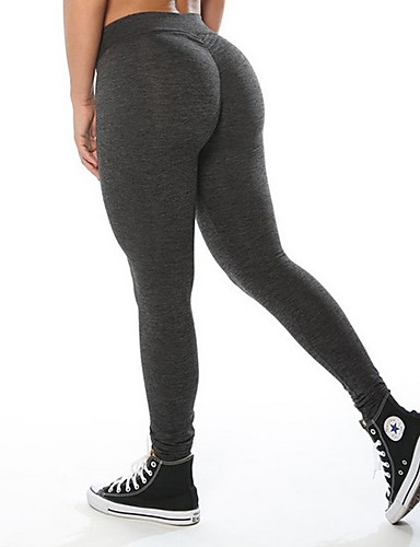 bb1b5ab30 Women s 3D Yoga Pants Black Dark Grey Light Grey Sports Solid Color Cotton Tights  Zumba Running Fitness Activewear Breathable Quick Dry Stretchy   Ruched ...
