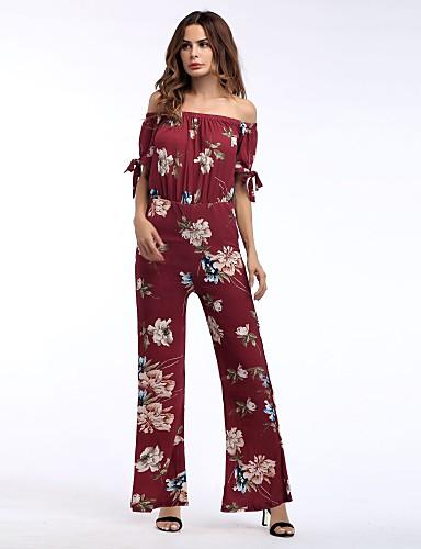 בגדי ריקוד נשים רגל רחבה מכנסיים - גיזרה גבוהה פפיון, פרחוני