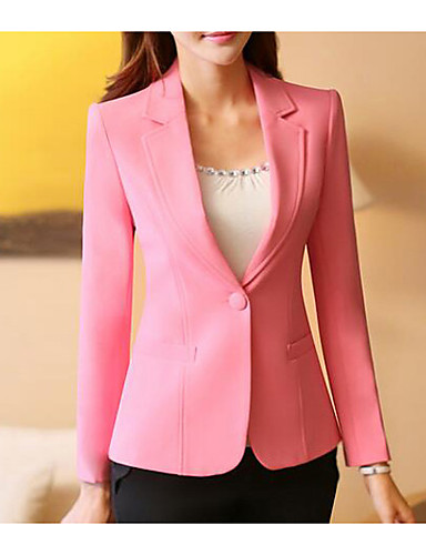Women's Daily Simple Casual Spring Short Blazer, Solid Notch Lapel Polyester