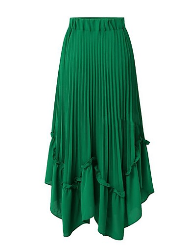 cheap Women's Skirts-Women's Daily / Going out Street chic Plus Size Maxi A Line Skirts - Solid Colored Chiffon Ruffle Black White Green M L XL / Slim