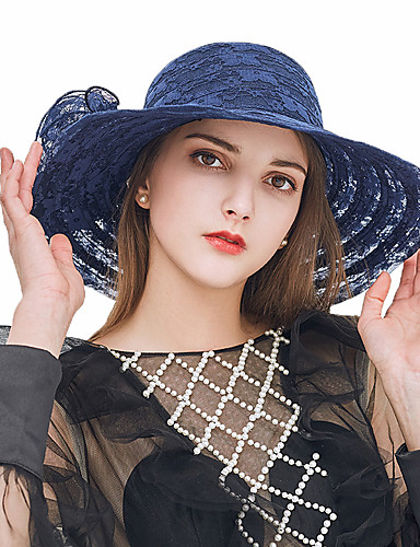 a2f36b7701176 Women s Kentucky Derby Lace Sun Hat-Solid Colored Lace Summer Navy Blue  Gray Khaki