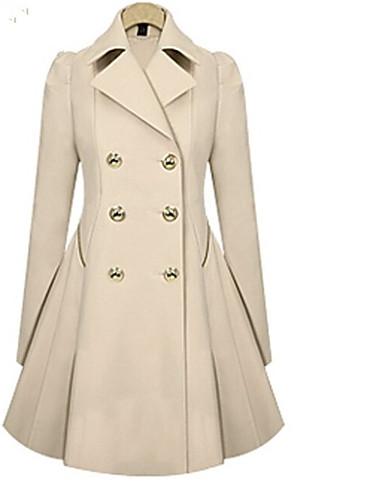 billige Ytterklær til damer-Dame Daglig Vår Lang Trenchcoat, Ensfarget Skjortekrage Langermet Polyester Svart / Navyblå / Kakifarget