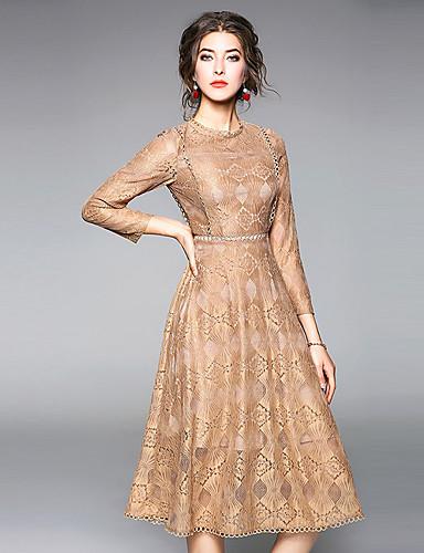 מקסי תחרה, צבע אחיד - שמלה נדן בוהו בגדי ריקוד נשים