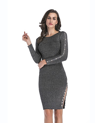 dda4bd71500 Women s Daily Weekend Basic Sweater Dress - Solid Colored Spring Cotton  Gray Wine M L XL
