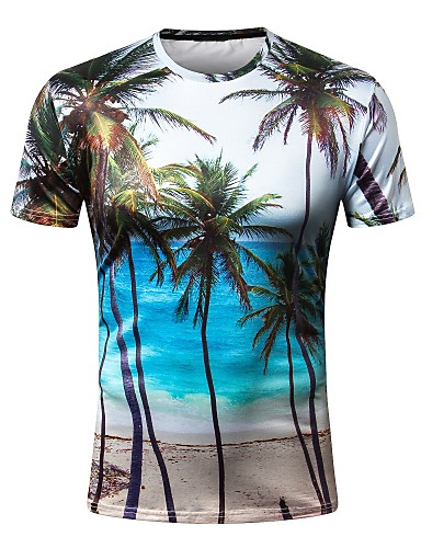 cheap Men's Tees & Tank Tops-Men's Daily Holiday Basic Slim T-shirt - Trees / Leaves Print Round Neck Rainbow XXXXL / Short Sleeve / Summer