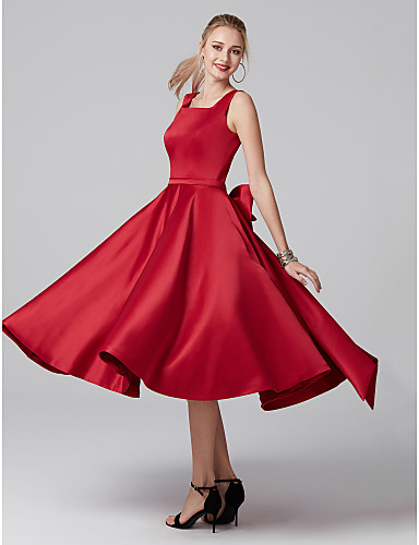 c4b1ce6cd8c0 A-Line Square Neck Tea Length Satin Cocktail Party Dress with Bow(s) /  Pleats by TS Couture®