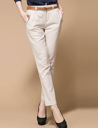 Damskie Bawełna Typu Chino Spodnie - Żakard, Solidne kolory