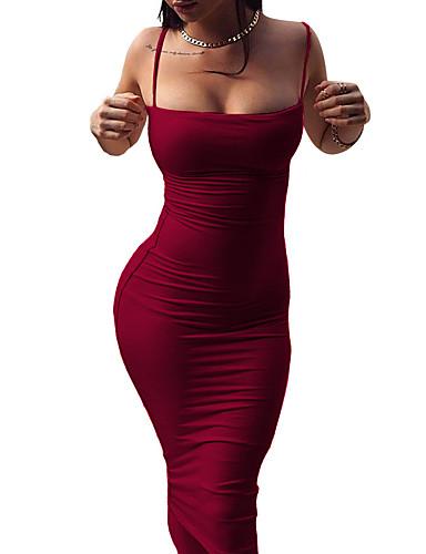 אדום כתפיה מידי גב חשוף, צבע אחיד - שמלה צינור נדן ליציאה בגדי ריקוד נשים