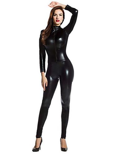 halpa Zentai-Kiiltävät Zentai asut Kissapuku Ihon puku Moottoripyörä tyttö Aikuisten Kaikki Spandex Lateksi Cosplay-asut Sukupuoli Miesten Naisten Musta Yhtenäinen Halloween Masquerade