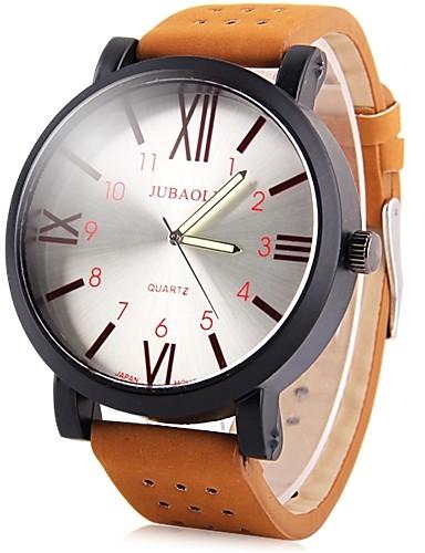 jubaoli herrn armbanduhren f r den alltag quartz leder braun cool gro es ziffernblatt analog. Black Bedroom Furniture Sets. Home Design Ideas