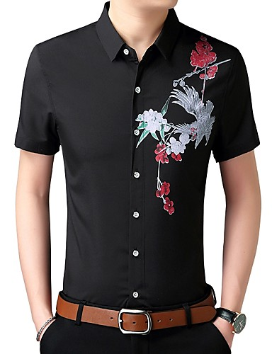 cheap Men's Shirts-Men's Daily Chinoiserie Cotton Slim Shirt - Floral Black XXXXL / Short Sleeve / Spring / Summer