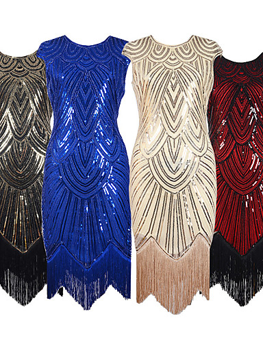 The Great Gatsby 1920s Roaring 20s Costume Women's Dress Party Costume Flapper Dress Cocktail Dress Red+Black / Silver / Black / Golden+Black Vintage Cosplay Party Prom Sleeveless Knee Length