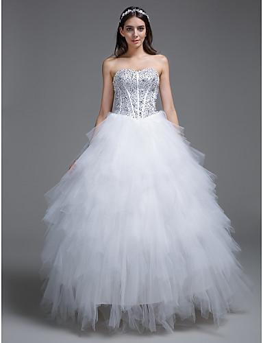 볼 드레스 끈없는 스타일 바닥 길이 튤 사용자 정의 웨딩 드레스 와 비즈 으로
